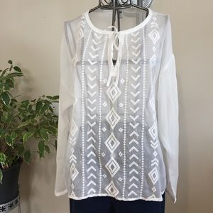 Old Navy white tribal embroidery sheer shirt